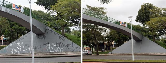 A passarela da Vila Hauer, na Avenida Marechal Floriano Peixoto, será despichada neste sábado, a partir das 9 horas. Foto: Divulgação/Regional Boqueirão