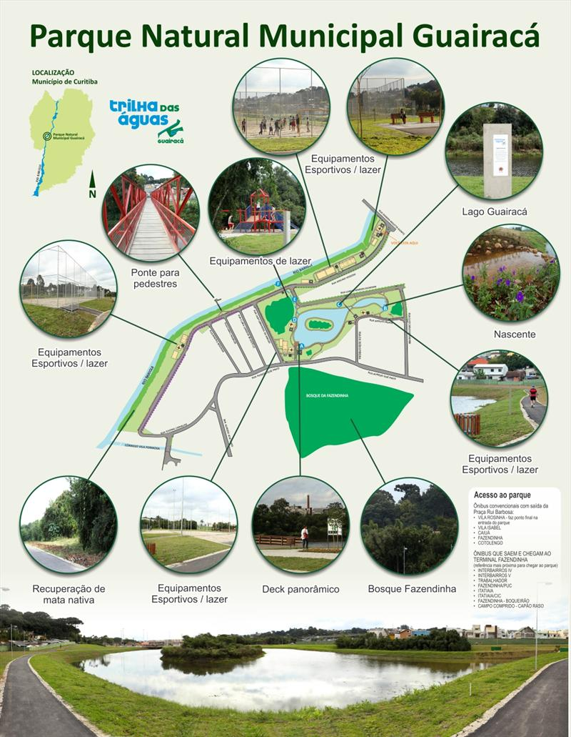 Inaugurado há menos de duas semanas, no dia 29 de março, o Parque Guairacá já foi adotado pela população que mora em seus arredores, no bairro Fazendinha. Ilustração: Divulgação