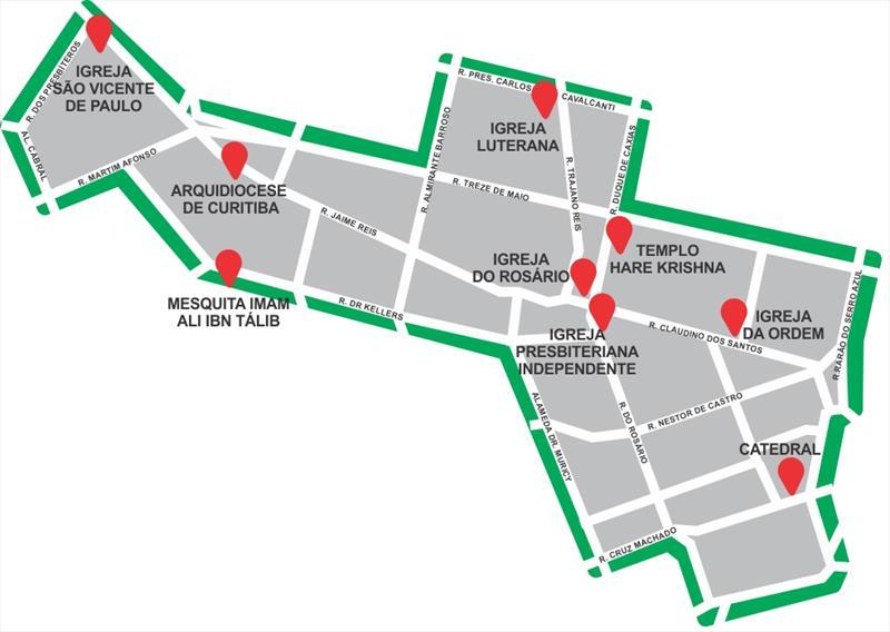 Os entusiastas do turismo religioso têm muito a conhecer em Curitiba. No Setor Histórico da cidade, há templos de diferentes religiões, que podem ser visitados em uma caminhada. Ilustração:Instituto Turismo