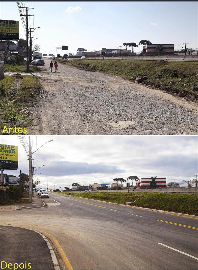 Prefeitura vai transformar 1/3 das ruas de saibro em asfalto. -Na imagem, antes e depois da pavimentação na marginal da BR 277.  Curitiba, 03/07/2017 Foto: Valdecir Galor/SMCS