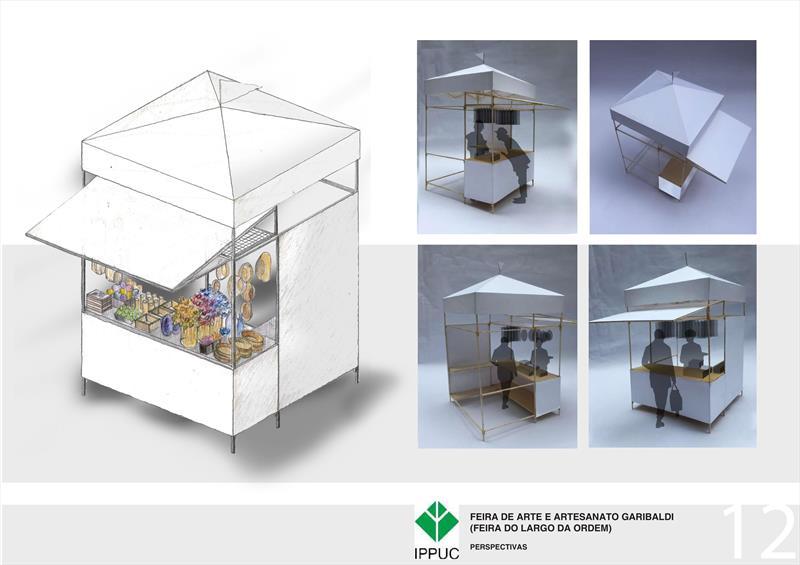 Ippuc desenha as novas barracas da Feirinha do Largo da Ordem. Ilustrações:IPPUC