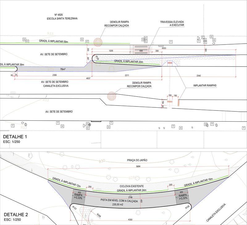 Sobre o contorno dos Ligeirões pela Praça do Japão, Magnabosco explicou que os ônibus farão o trajeto vazios, com velocidade reduzida e em pista compartilhada sinalizada. Ilustração:IPPUC