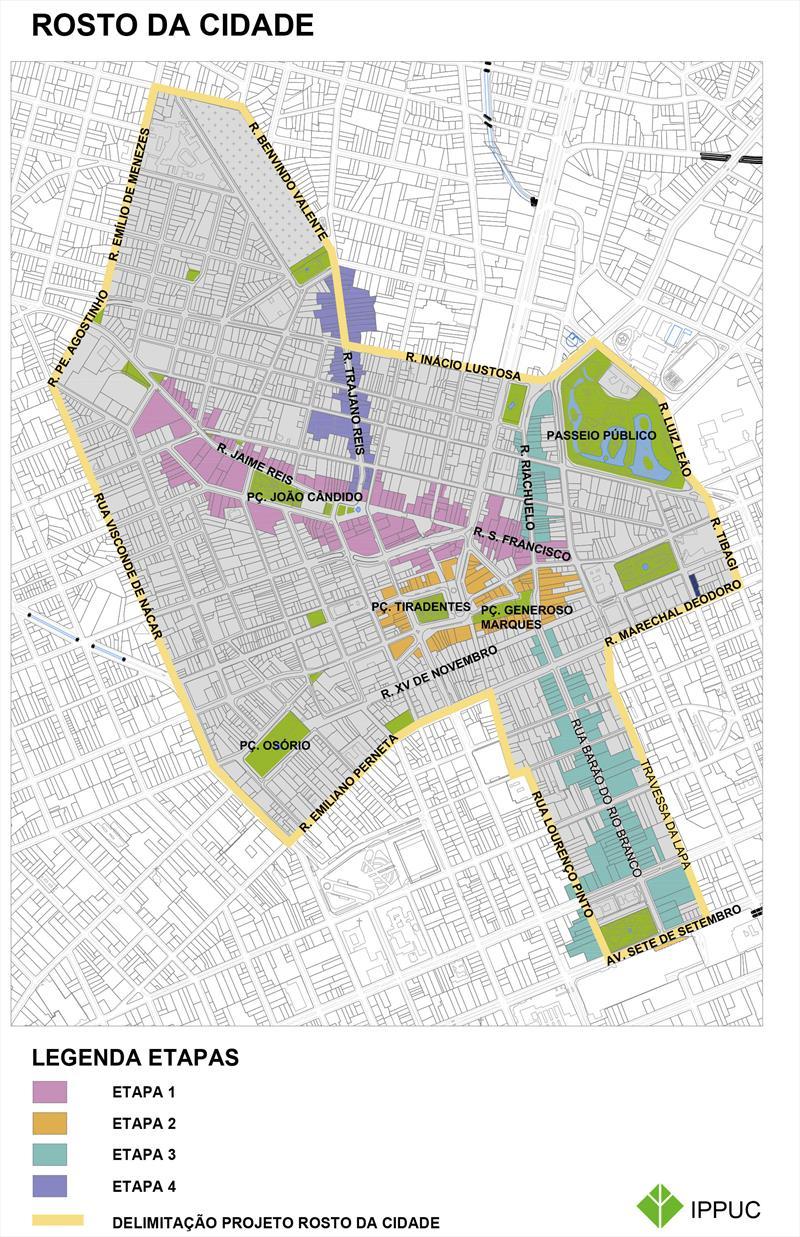 Resgatar o Centro da cidade como área para moradia, turismo e lazer e o fortalecimento do comércio e de serviços, é uma das metas do projeto Rosto da Cidade, da Prefeitura de Curitiba. ilustração IPPUC