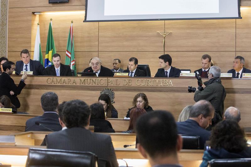 Prefeito Rafael Greca apresenta nova Lei de Zoneamento na Câmara Municipal. Curitiba, 01/08/2018 -  Foto: Valdecir Galor/SMCS