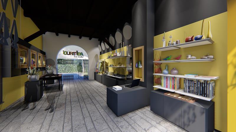 A rede #CuritibaSuaLinda, que será inaugurada pelo prefeito Rafael Greca, nesta quinta-feira, será administrada pela URBS e as lojas de produtos artesanais com temas da cidade seguem um conceito contemporâneo elaborado pelo Instituto de Pesquisa e Planejamento Urbano de Curitiba (Ippuc). Ilustração: IPPUC