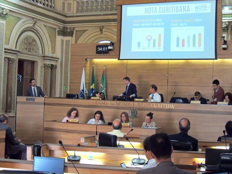 Secretário de Municipal de Finanças, Vitor Puppi, faz apresentação dos números do quadrimestre na Câmara Municipal. Curitiba, 25/09/2018. Foto: Valdecir Galor/SMCS