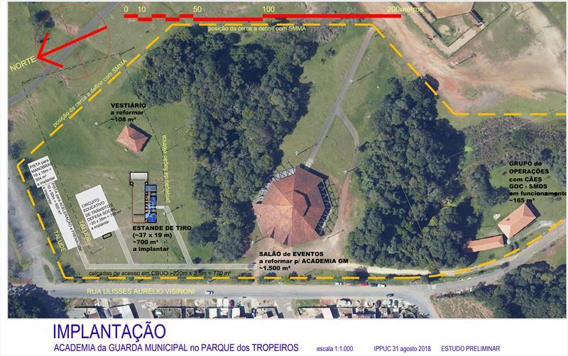 A estrutura, a ser instalada junto ao Parque dos Tropeiros, no CIC, terá auditório, salas equipadas para a capacitação, sanitários, refeitório, área reservada para estande de tiros e circuito educativo para o trânsito.