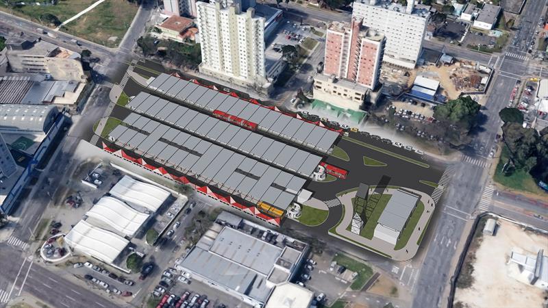 O Terminal Campina do Siqueira também será ampliado com adequação ao perfil do terreno. O investimento na reconstrução do terminal Campina do Siqueira será de R$ 18,3 milhões. Ilustração:IPPUC