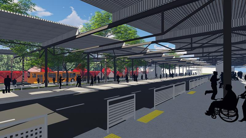 Com a ampliação, a área do total do Terminal Hauer, incluindo edificação e circulação, será de 15.843,19 m² com capacidade para a parada de 23 linhas de ônibus simultaneamente.  Ilustração:IPPUC