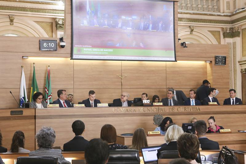 Na Câmara, prefeito Rafael Greca presta contas de viagem a Espanha e anuncia R$ 10 milhões para inovação. Curitiba, 21/11/2018 Foto:Cesar Brustolin/SMCS
