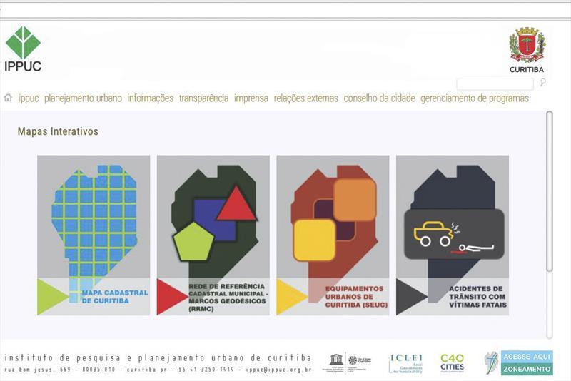 O Instituto de Pesquisa e Planejamento de Curitiba (Ippuc) abriu à livre consulta um conjunto de mapas interativos com informações detalhadas sobre Curitiba.  ilustração:IPPUC