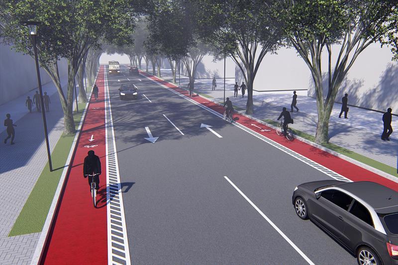 Curitiba tem a meta de chegar a 408 quilômetros de estrutura cicloviária implantados até 2025. Ilustração:IPPUC