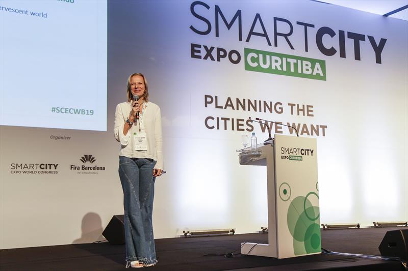 Ana Carla Fonseca, faz a palestra de abertura do Smart City Expo 2019, na
