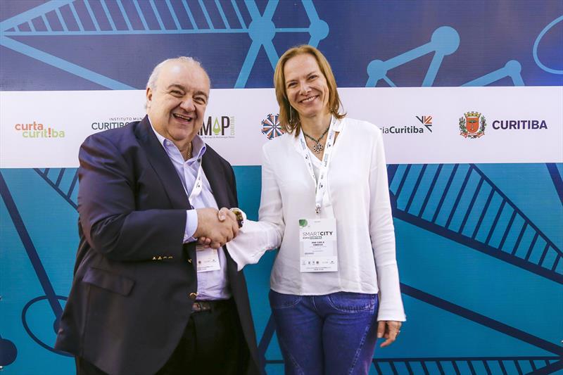 Prefeito Rafael Greca, recebe a palestrante Ana Carla Fonseca, que abriu o Smart City Expo 2019. Curitiba, 21/03/2019. Foto: Pedro Ribas/SMCS