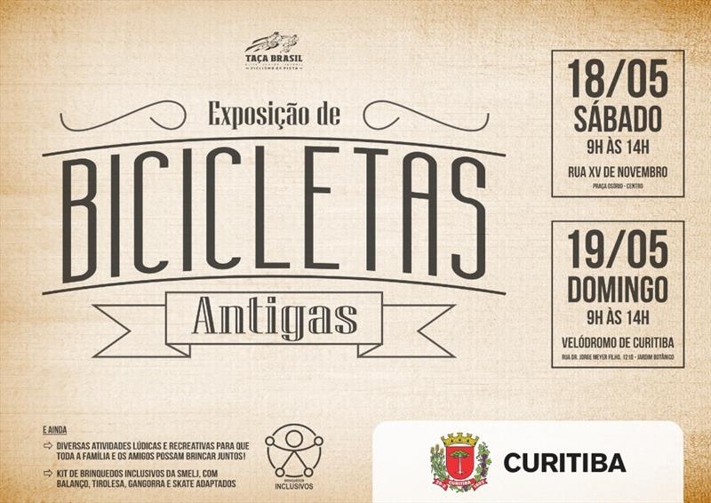 No sábado e domingo (18 e 19/5) das 9h às 14h, na Praça Osório e no Velódromo de Curitiba, respectivamente, a Smelj vai fazer uma Exposição de Bicicletas Antigas.