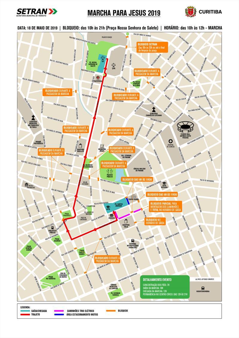 Diversas ruas da região central da cidade terão alterações no trânsito, neste sábado (18/5), em razão da Marcha para Jesus.