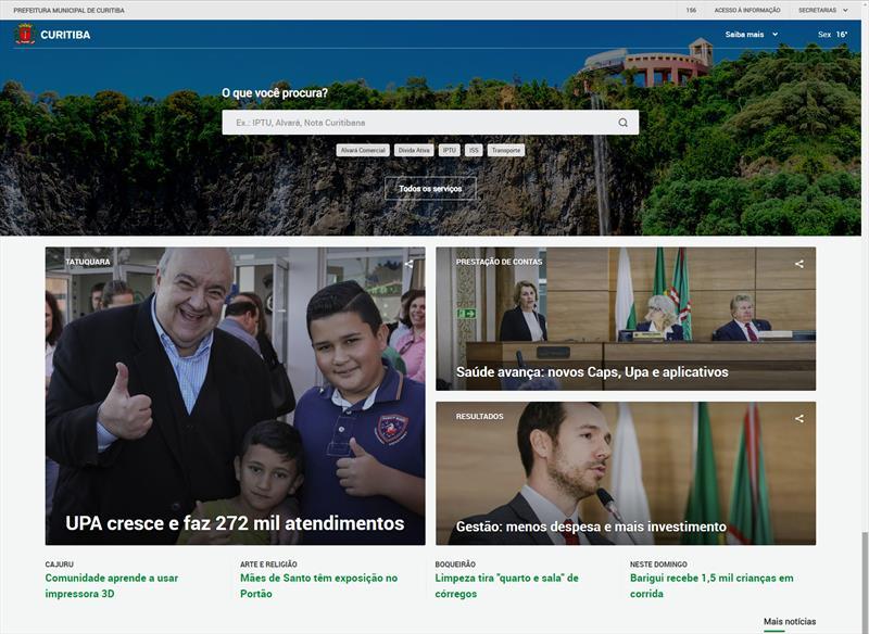 Novo portal da Prefeitura de Curitiba.