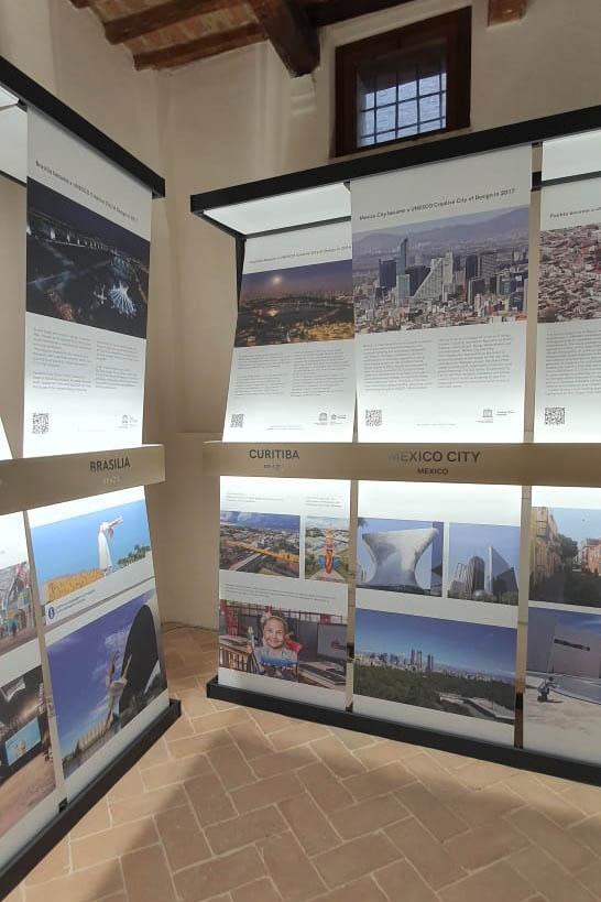 Painéis de Curitiba estão na XIII Conferência de Cidades Criativas da Unesco, em Fabriano - Itália. Foto: Divulgação