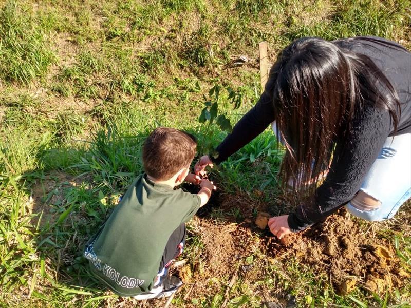 Crianças das Escola Municipal Helena Kolody, no Campo do Santana, tiveram  uma aula prática de meio ambiente. Foto: Divulgação