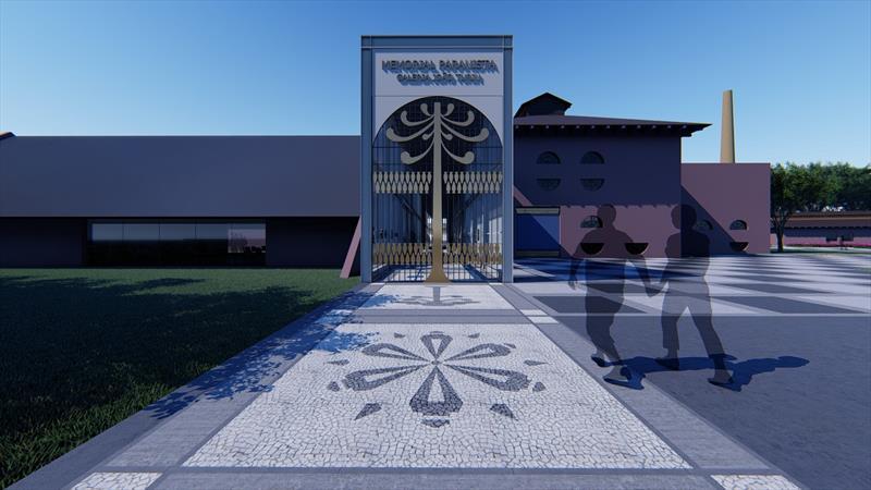 O projeto do Memorial Paranista do Parque São Lourenço foi apresentado na Prefeitura, pelo arquiteto do Instituto de Pesquisa e Planejamento Urbano de Curitiba (Ippuc) Guilherme Kloch. Ilustração: IPPUC