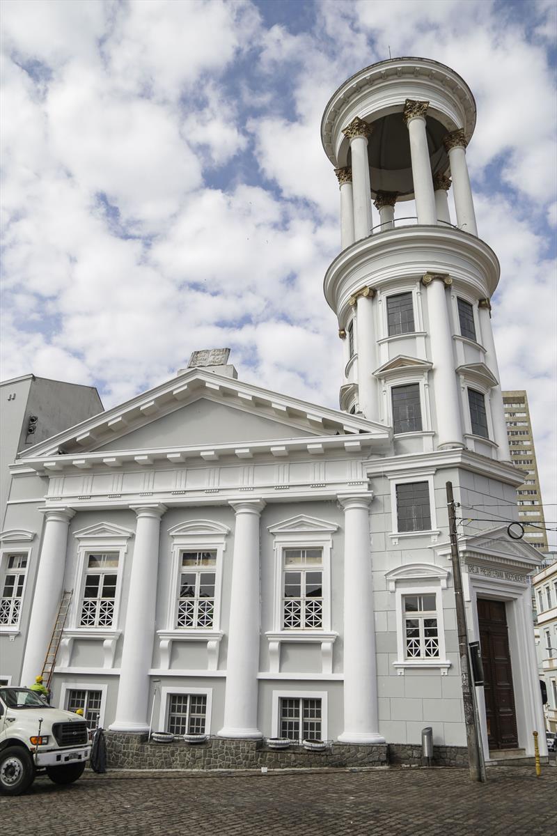 Pintura da Igreja Presbiteriana, no Centro Histórico, que faz parte do programa Rosto da Cidade. Curitiba, 03/07/2019. Foto: Pedro Ribas/SMCS