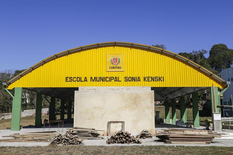 Obras da quadra coberta da Escola Municipal Sônia Kenski, em Santa Felicidade. Curitiba, 01/08/2019. Foto: Pedro Ribas/SMCS