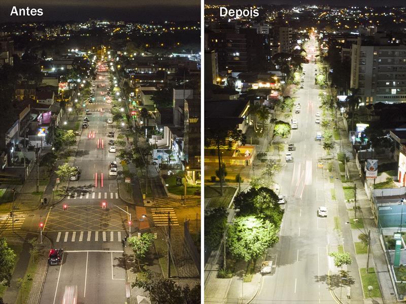 Iluminação da Av. Sete de Setembro. Curitiba, 27/03/2019. Foto: Pedro Ribas/SMCS