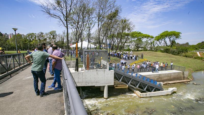 Inauguração da Central Geradora Hidrelétrica CGH Nicolau Kluppel no vertedouro do Parque Barigui - Curitiba, 04/10/2019 - Foto: Daniel Castellano / SMCS