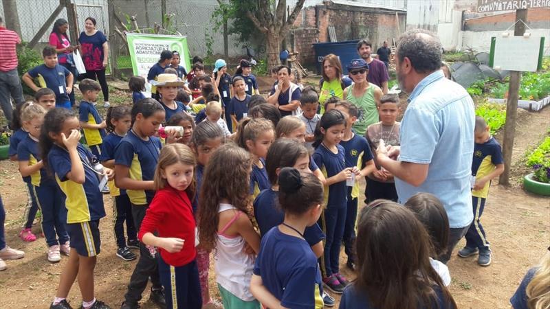 Em comemoração ao Dia Mundial da Alimentação, estudantes da Escola Municipal CEI Maria Augusta Jouve conheceram a Horta Comunitária Visitação, no Boqueirão. Foto: Divulgação