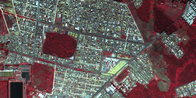 Imagem do Tatuquara em infravermelho. Foto: Consórcio Curitibatech.