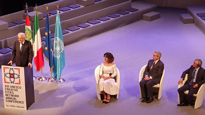XIII Conferência de Cidades Criativas da Unesco foi aberta pelo presidente italiano, Sérgio Mattarella. Foto: Divulgação