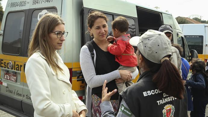 Blitz educativa da SETRAN na escola municipal João Macedo Filho. Curitiba,30/07/2019. Foto: Luiz Costa /SMCS