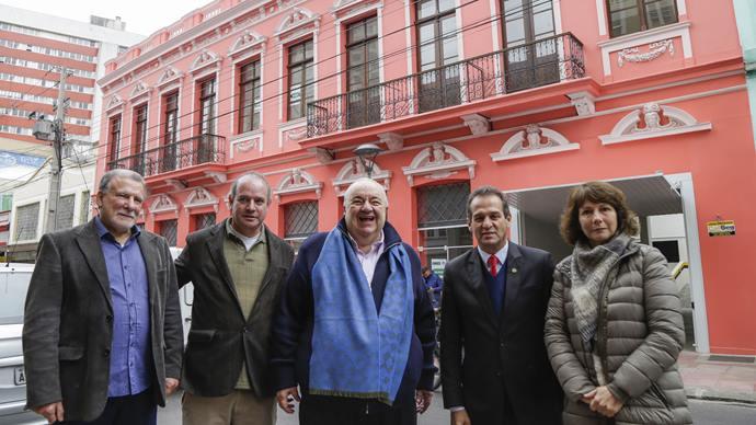 Prefeito Rafael Greca, vistoria a fachada do edifício Primus recuperada, que integra o Programa Rosto da Cidade. Curitiba, 21/08/2019. Foto: Pedro Ribas/SMCS