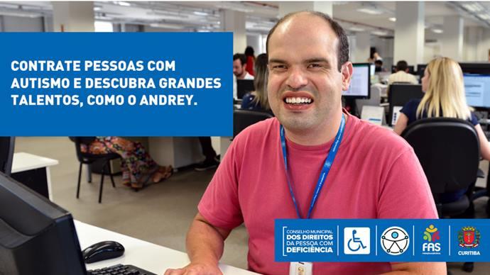 Campanha sensibiliza empresas a contratar pessoas com deficiência.  - Na imagem, Andrey Santos de Macedo, autista, assistente administrativo. Foto: Divulgação