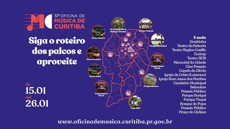 Conheça os palcos da 37° Oficina de Música de Curitiba.