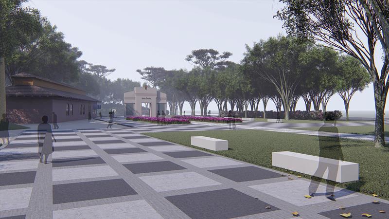Memorial Paranista, no Parque São Lourenço. Ilustração/IPPUC