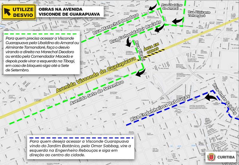 Mapa dos desvios devido as obras de recuperação do asfalto na Visconde de Guarapuava.