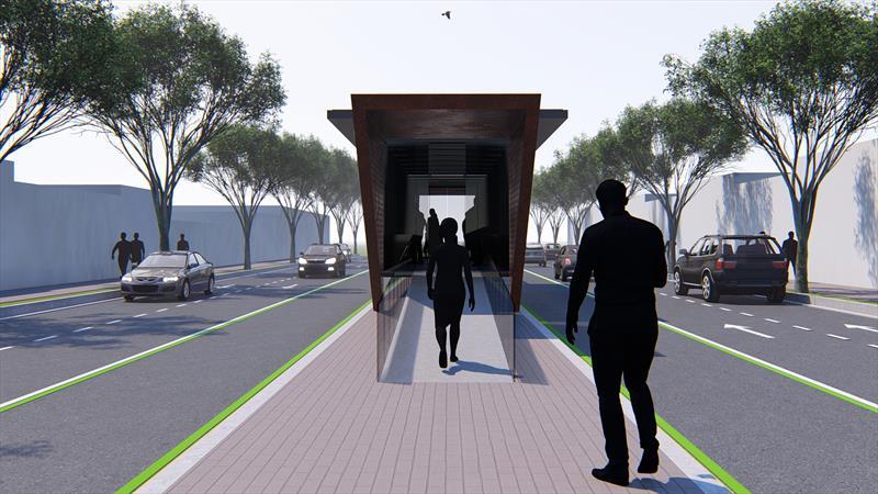 As novas estações no itinerário do Inter 2 terão rampas de acesso para pessoas com dificuldades de locomoção e espaço amplo para o deslocamento de cadeirantes. Ilustração: IPPUC