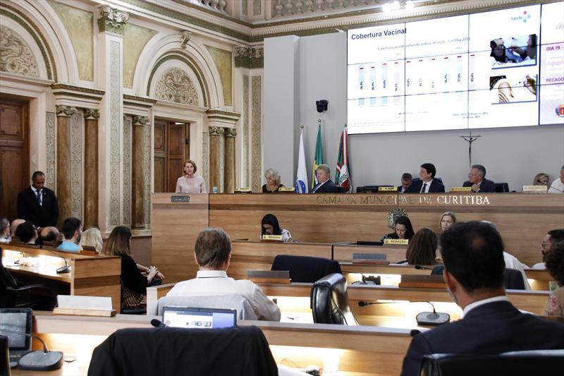 Secretária municipal da Saúde, Márcia Huçulak, apresenta os dados de 2019 da secretaria, na Câmara Municipal. Curitiba, 19/02/2020. Foto: Lucilia Guimarães/SMCS