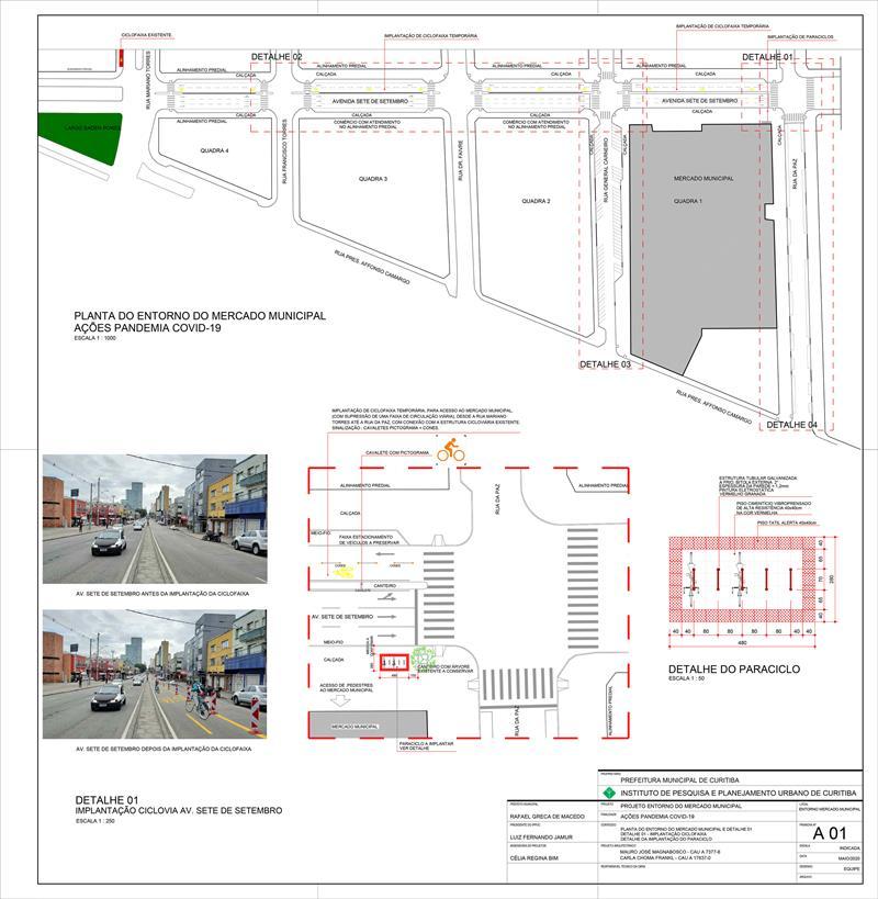 Entorno do Mercado Municipal terá ciclofaixa temporária e calçadas ampliadas.