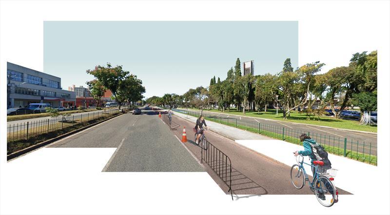 Aos sábados, a Avenida Affonso Camargo terá ciclofaixa temporária desde a Mariano Torres até a faixa de pedestres do cruzamento com a Rua General Carneiro.