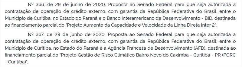 Despacho do Presidente da República ao Senado Federal pela autorização dos financiamentos a Curitiba consta no Diário Oficial da União de 30 de junho de 2020.