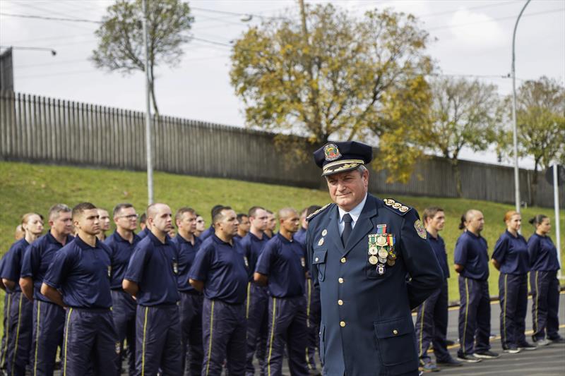 Odgar Nunes Cardoso deixa a direção geral da Guarda Municipal, durante solenidade de troca de comando. Curitiba, 11/09/2019. Foto: Pedro Ribas/SMCS