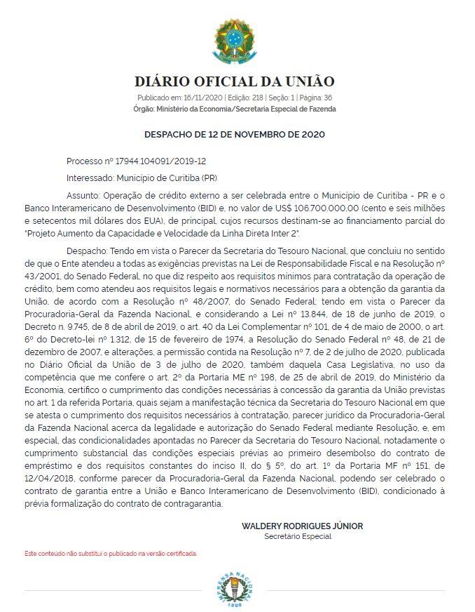 Despacho do secretário especial da Fazenda, Waldery Rodrigues Junior, publicado no Diário Oficial da União (DOU) desta segunda-feira (16/11)