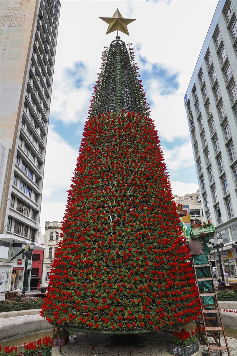 Curitiba entra em clima natalino com início da montagem de árvores e decoração - Rua XV. Curitiba, 20/11/2020. Foto: Hully Paiva/SMCS