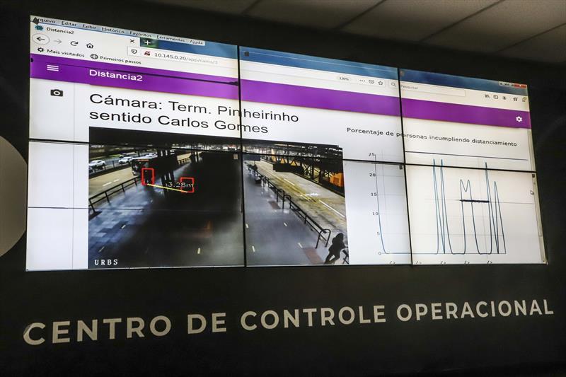 Aplicativo Distância 2, que monitora o distanciamento social em terminais e estações-tubo - Centro de Controle Operacional (CCO) na Urbs. Curitiba, 20/11/2020. Foto: Hully Paiva/SMCS