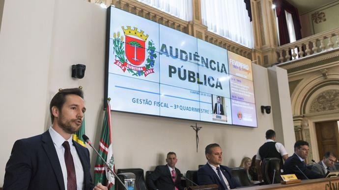 Secretário Municipal de Finanças, Vitor Puppi, apresenta prestação de contas na Câmara Municipal. Curitiba, 18/02/2020 Foto: Valdecir Galor/SMCS