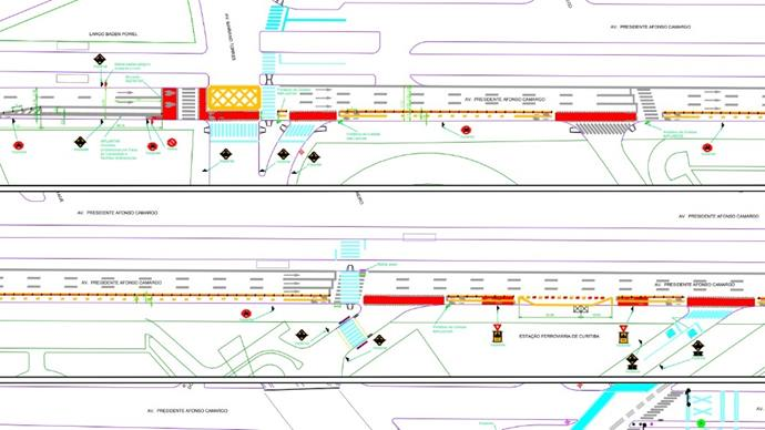 Recorte do projeto da estrutura cicloviária da Avenida Affonso Camargo entre a Rua Mariano Torres e o viaduto do Capanema.