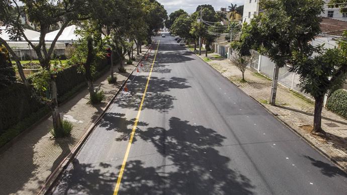 Implantação de ciclofaixa bidirecional ao longo da Avenida dos Estados, no Água Verde. Curitiba, 17/06/2020. Foto: Pedro Ribas/SMCS