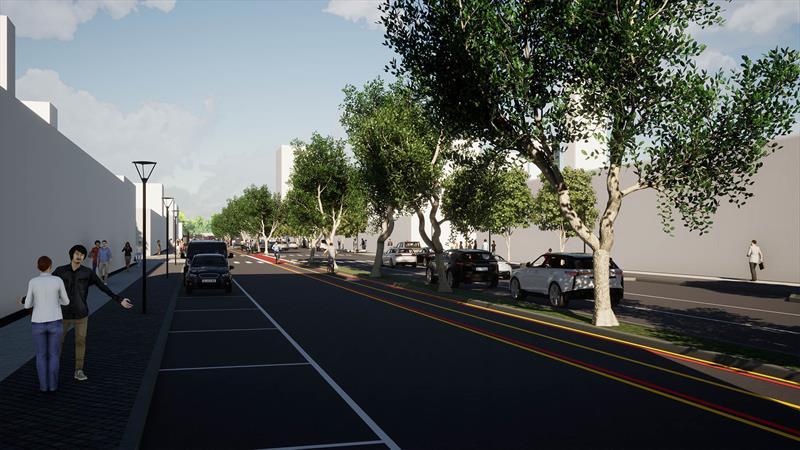 Mercado Municipal terá o espaço público renovado, com a melhoria da paisagem urbana, da segurança nos deslocamentos e com a criação de novas conexões cicloviárias e de favorecimento à caminhabilidade. Ilustração: IPPUC